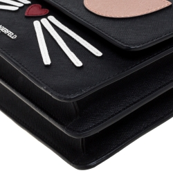 Karl Lagerfeld Black Leather Maybelle Chain Shoulder Bag