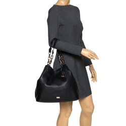 Karl Lagerfeld Black Leather Chain Tote