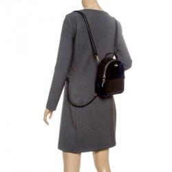 8566883a0b89 Kate Spade Black Blue Leather and Velvet Mini Watson Lane Merry Backpack