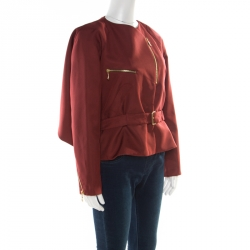 Kenzo Brick Red Contrast Lapel Cape Back Belted Jacket L