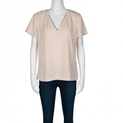 0e1abb5f84d9 Kenzo Beige Shoulder Button Detail V-Neck Top M