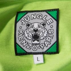 Kenzo Jungle Leaf Green Logo Printed Cotton Short Sleeve T-Shirt L