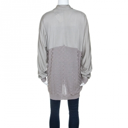 Kenzo Grey Silk Blend Knit Open Front Cardigan L