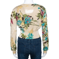 Kenzo Cream Floral Pointelle Knit Cotton Sequined Cropped Cardigan M