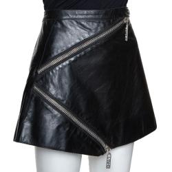 Kenzo Black Leather Zip Detail Mini Skirt L
