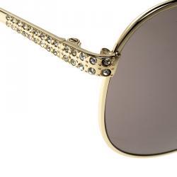Korloff Gold/Brown KOR2024 Embellished Aviator Sunglasses