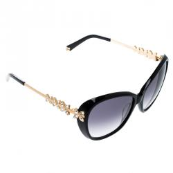 Korloff Black Gradient KOR2032 Crystal Embellished Butterfly Sunglasses
