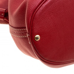 Lancel Red Leather Premiere Flirt Bucket Shoulder Bag