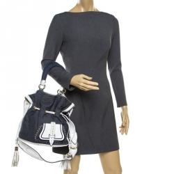 2ff2b62a815a Lancel Blue White Denim and Leather Premiere Flirt Bucket Shoulder Bag