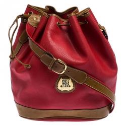Lancel Red/Tan Leather Drawstring Bucket Bag