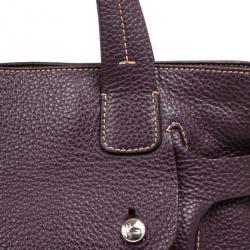 Lancel Purple Leather Top Handle Bag