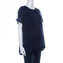 Lanvin Navy Blue Silk Chiffon Raw Edge Detail Short Sleeve Top XL