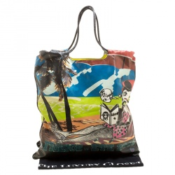 Lanvin Multicolor Printed Coated Canvas and Patent Leather 2009 Tote