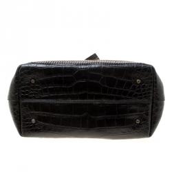 Lanvin Black/Brown Croc Embossed Leather Top Handle Bag