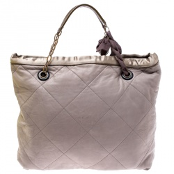 Lanvin Grey/Olive Green Quilted Leather Amalia Cabas Tote