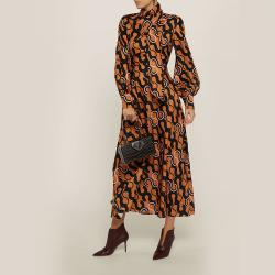 LAYEUR Brown Lee Scarf Neck Printed Cotton-Silk Dress FR 40