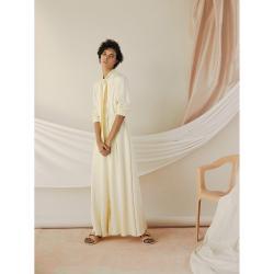 LAYEUR Cream Borden Button Down Maxi Skirt FR 48