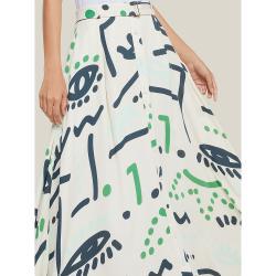 LAYEUR Cream Borden Button Down Printed Maxi Skirt FR 50