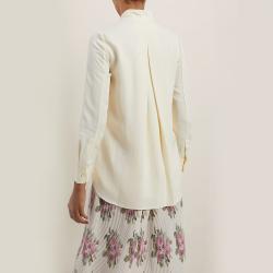 LAYEUR Cream Borden Scarf Collar Button Down Shirt FR 50