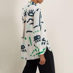 LAYEUR Cream Borden Scarf Collar Printed Shirt FR 44