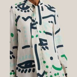 LAYEUR Cream Borden Scarf Collar Printed Shirt FR 50