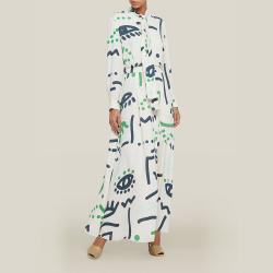 LAYEUR Cream Whittle Tie-Neck Printed Maxi Dress FR 42