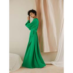 LAYEUR Green Borden Balloon Sleeve Poet Dress FR 42