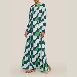 LAYEUR Green Wharton Fit and Flare Maxi Dress FR 44