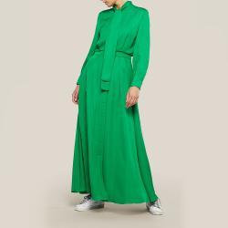 LAYEUR Green Whittle Tie-Neck Button Down Maxi Dress FR 46