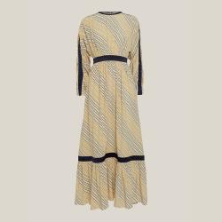 LAYEUR Neutral Amos Ruffled Hem Silk-Blend Dress FR 44