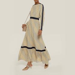 LAYEUR Neutral Amos Ruffled Hem Silk-Blend Dress FR 46