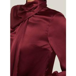 LAYEUR Red Fine Scarf-Neck Silk Blouse FR 46