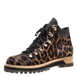 Le Silla Leopard Print Pony Hair Platform Ankle Boots Size 40