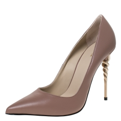 Le Silla Brown Leather Spiral Heel Pointed Toe Pumps Size 40