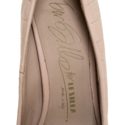 Le Silla Beige Quilted Leather Chain Detail Metal Cap Toe Platform Pumps Size 36.5
