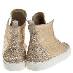 Le Silla Gold Quilted Leather and Suede Crystal Embellished Lace High Top Sneakers Size 41