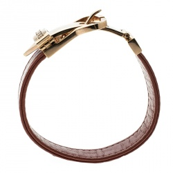 Loewe Nude Red Leather Rose Gold Tone Buckle Bracelet