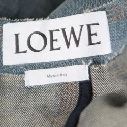 Loewe Indigo Washed Frayed Edge Denim Leather Trim Peplum Jacket M