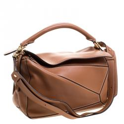 Loewe Brown Leather Puzzle Shoulder Bag