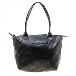 12a22f8ad17 Longchamp Black Coated Fabric and Leather Le Pliage Tote