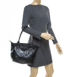 Longchamp Black Coated Fabric and Leather Le Pliage Tote