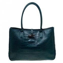 712a947bae0f6 حقيبة يد لونج شامب روسو جلد نقش تمساح خضراء