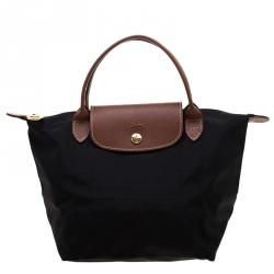 0519edf51c2bc حقيبة يد لونج شامب لو بلياغ صغيرة جلد ونايلون سوداء