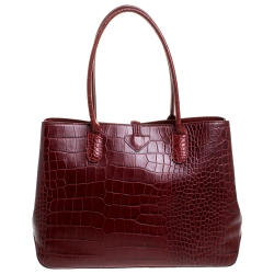 Longchamp Red Croc Embossed Leather Roseau Tote