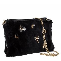 Longchamp Black Embellished Fur and Patent Leather Evening Bag