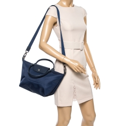 Longchamp Blue Nylon And Leather Small Le Pliage Tote