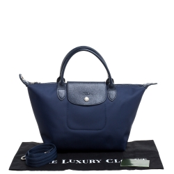 Longchamp Blue Nylon And Leather Small Le Pliage Tote