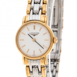 Longines White Gold Plated Stainless Steel Plaisance L4.219.2 Women's Wristwatch 20 mm