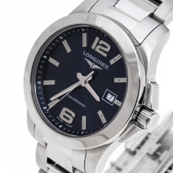 Longines Blue Stainless Steel Conquest L3.376.4 Women's Wristwatch 29 MM
