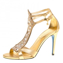 75ac113e715 Loriblu Metallic Gold Leather and Suede Crystal Embellished Sandals Size  38.5